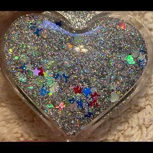 Phone grip holder pop socket heart glitter glam